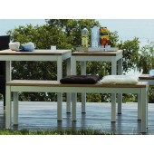 Jan Kurtz Bank / Bank Quadrat - Tischgestell Aluminium Weiß / Bank- / Hockerplatte Teak massiv