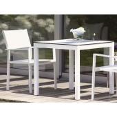 Jan Kurtz Tisch Quadrat - Tischgestell Aluminium Weiß / Tischplatte HPL-Schichtstoff