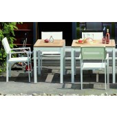 Jan Kurtz Tisch Quadrat - Tischgestell Aluminium Weiß / Tischplatte Teak massiv