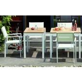 Jan Kurtz Tisch Quadrat - Tischgestell Aluminium Weiß / Tischplatte Robiniaholz massiv